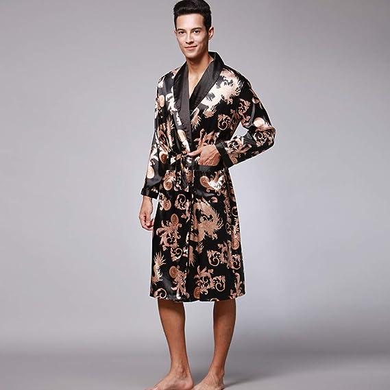 Long Satin Lounge Print Bathrobe Mens Charmeuse Sleepwear with Pockets Wedding at Amazon Mens Clothing store: