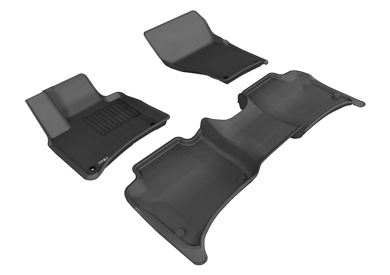 L1VW05401509 3D MAXpider Complete Set Custom Fit All-Weather Floor Mat for Select Volkswagen Touareg Models Kagu Rubber Black