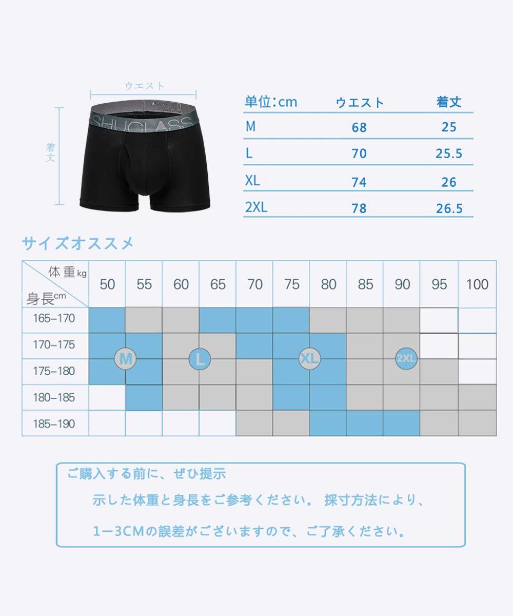 【SHUCLASS】メンズ ボクサーブリーフ セット 耐久 アンダーウェア(black 1枚組 XL)