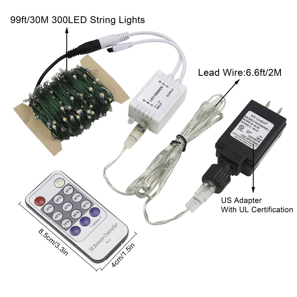 TM 100ft Led String Lights,300 Led Starry Lights on 30M Green Copper Wire String Lights Power Adapter + Remote Control Warm White ER CHEN