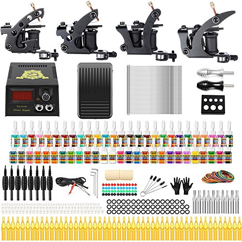 (Solong Tattoo Complete Tattoo Kit 4 Pro Machine Guns 54 Inks Power Supply Foot Pedal Needles Grips Tips TK457)
