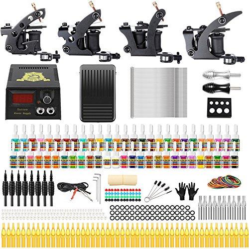 Solong Tattoo Complete Tattoo Kit 4 Pro Machine Guns 54 Inks Power Supply Foot Pedal Needles Grips Tips (3 Guns Tattoo Kit)