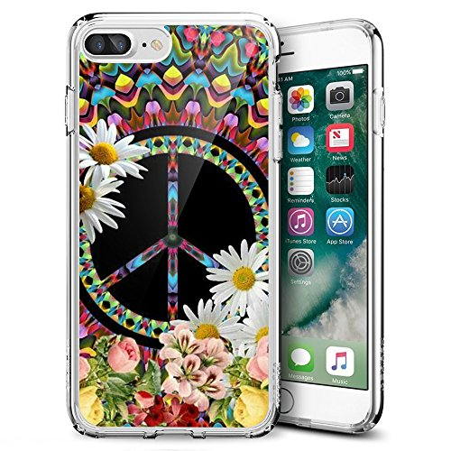 Floral Peace Sign iPhone 7 Plus 8 Plus Case Customized Design Anti-Scratch Flexible Shock Absorption Soft TPU Protective Phone Case For iPhone 7 Plus 8 Plus-Clear