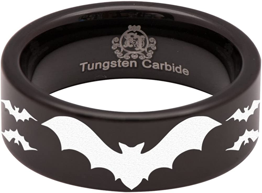Friends of Irony Black Tungsten Carbide Bat Ring Animal Inspired Wedding Band Anniversary Ring for Men and Women 8mm Size 7.5