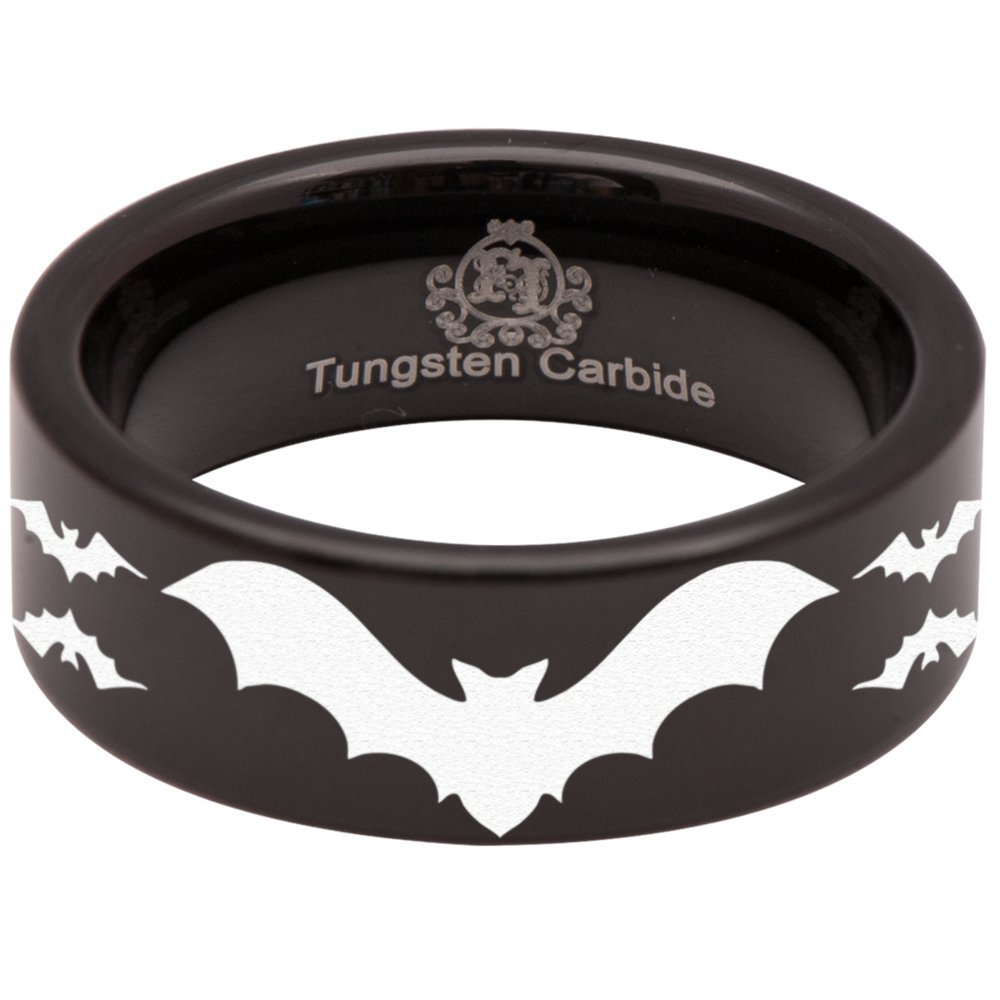 Black Tungsten Carbide Bat Ring Animal Inspired Wedding Band Anniversary Ring for Men and Women 8mm Size 8