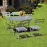 Festnight 3 Piece Outdoor Patio Bistro Table and Chairs Set Light Blue