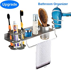 Hair Dryer Holder Wall Mount, Towel Toothbrush Toothpaste Perfume Comb Blow Dryer Holder Organizer Storage Hanging Shelf Rack Stand, Bathroom Organizer with Towel Holder, Upgrade Space Aluminum