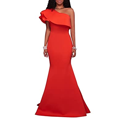 Engeryplay Women One Shoulder Sleeveless Flounce Floor Length Spendex Mermaid Prom Dress Evening Dresses Orange