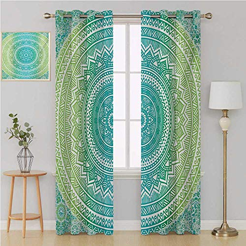 Benmo House Teal and Lime Gromet Curtain Thermal Insulated Blackout CurtainsOmbre Mandala Ethnic Pattern with Flower and Petals Hippie Style Artsoundproof Curtain 120 by 84 InchTeal Lime and White