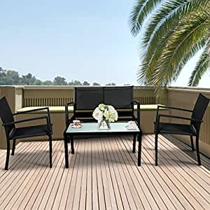 4 Pieces Outdoor Patio Furniture Set Textilene, Yard Garden with Loveseat, Chairs and Coffee Table
