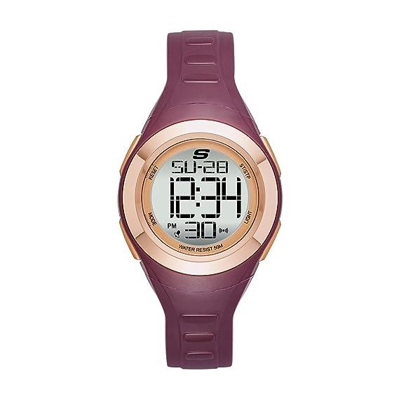 Skechers SR2085 - Reloj de Cuarzo para Mujer, de plástico y Poliuretano, Color Rojo