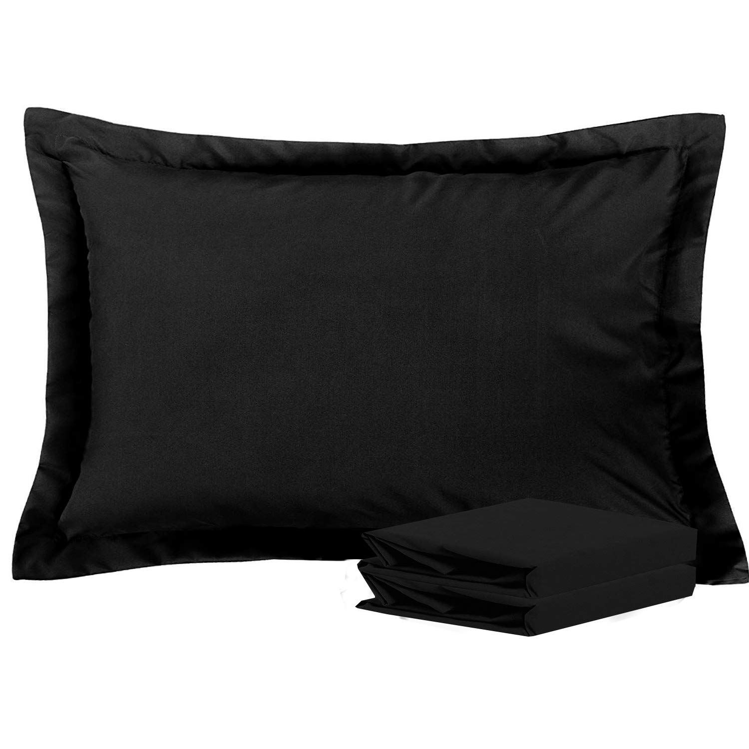 NTBAY Standard Pillow Shams, Set of 2, 100% Brushed Microfiber, Soft and Cozy, Wrinkle, Fade, Stain Resistant (Black, Standard)