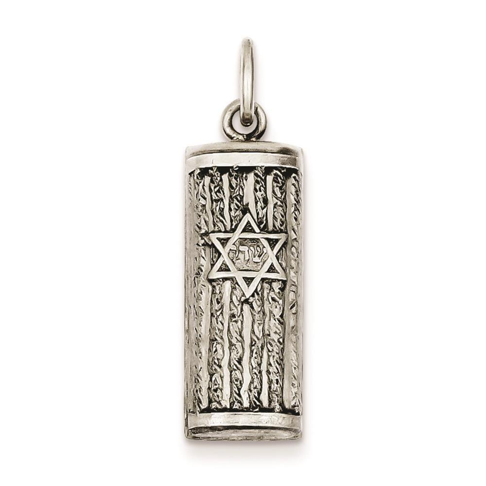 925 Sterling Silver Antiqued Mezuzah Charm Pendant 27mm x 9mm