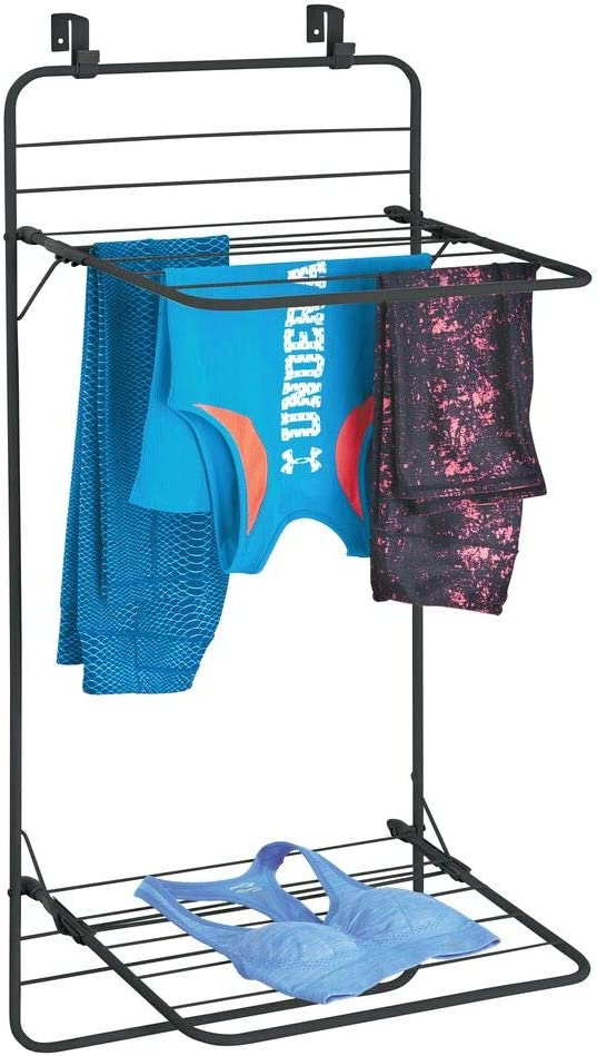 mDesign Over Door Foldable Laundry Drying Rack - Compact, Portable, and Collapsible for Storage - Double Shelf - Black
