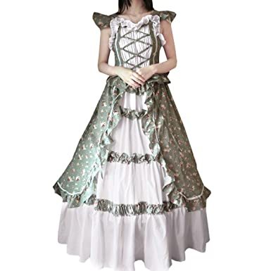 Partiss Damen Fluegelaermeln Blumen Rueschen Maskerade Kleid Gothic ...