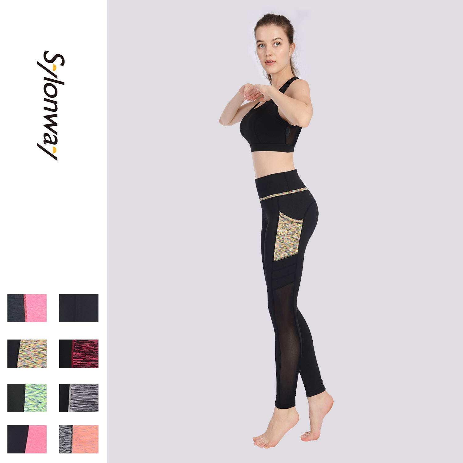 Sylonway Womens High Waist Yoga Pants with Pockets /& Mesh Tummy Control Workout Running Leggings for Sports Fitness Gym HB02//HB03