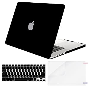 MOSISO Case Only Compatible MacBook Pro (W/O USB-C) Retina 13 Inch (A1502/A1425)(W/O CD-ROM) Release 2015/2014/2013/end 2012 Plastic Hard Shell & Keyboard Cover & Screen Protector, Black