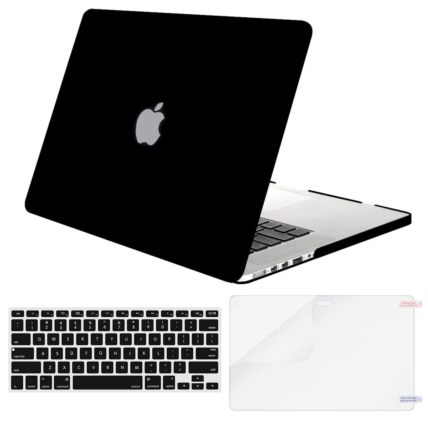 MOSISO Plastic Hard Case with Keyboard Cover with Screen Protector Only Compatible MacBook Pro Retina 13 inch No CD-ROM (A1502/A1425, Version 2015/2014/2013/end 2012), Black