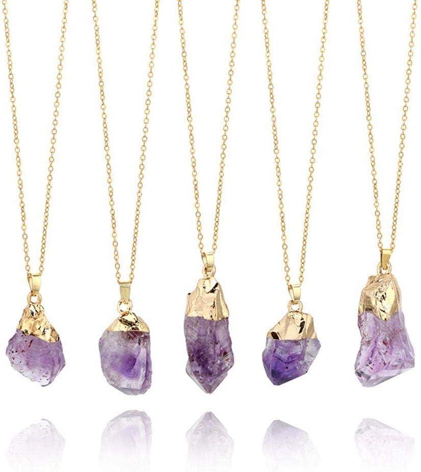 Huien 1 UNIDS Colgante de Piedras Preciosas de Amatista Natural Púrpura Cristal de Cuarzo Punto Piedra de Sanación Collar de Cadena Larga Colgante de Amatista Decoración para el hogar