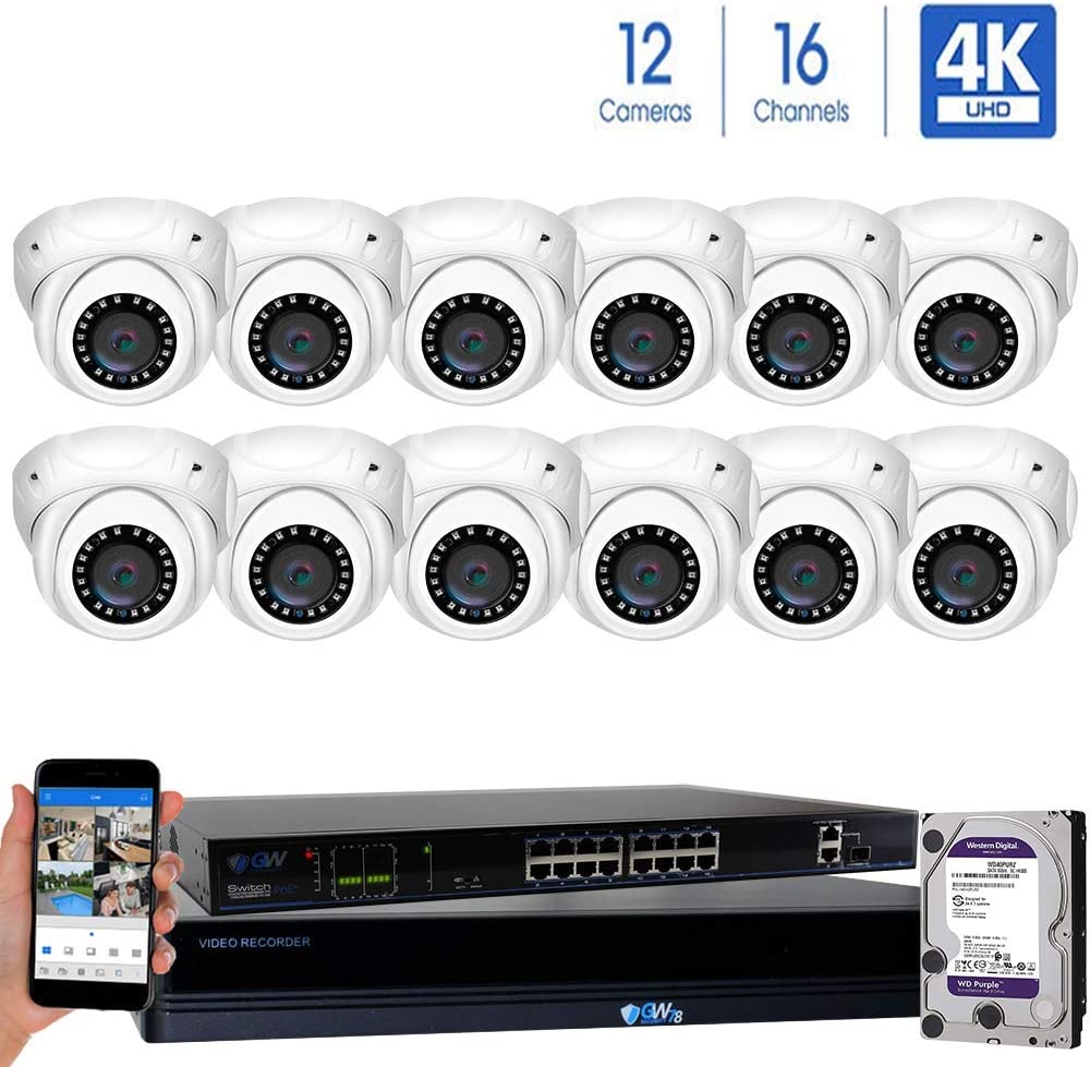 GW Security 16 Channel 4K NVR 8MP IP Camera Network PoE H.265 Surveillance System with 12-Piece Ultra HD 4K 2160P Weatherproof Outdoor Indoor Dome Security Cameras – White