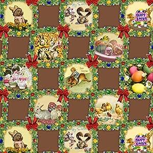 Mantel Hule Por Metro Pascua Huevos Pascua Conejo de Pascua TAMAÑO Y diseño SELECCIONABLE en Ovalado Rectangular redondo (120 cm redondo, k836-5)