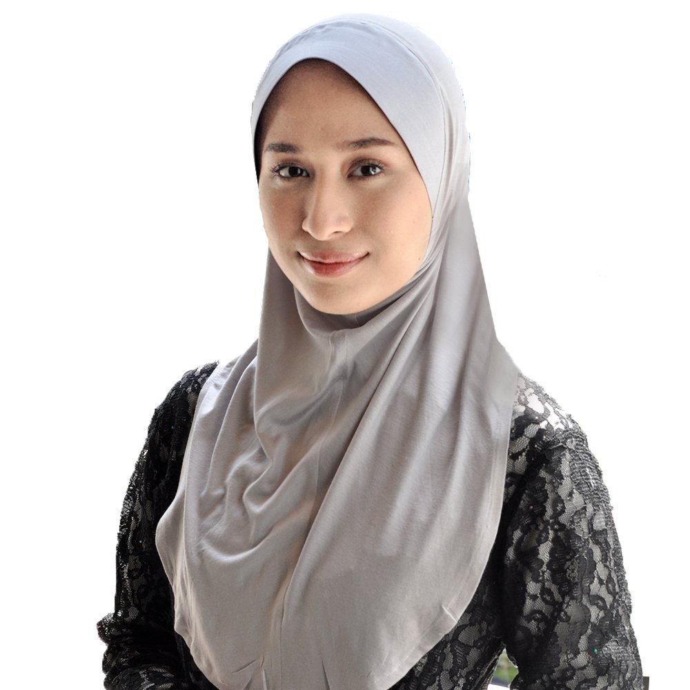Silk Story Brimmed Amira Hijab One Piece Instant Sarong Head Scarf Thai Silk - Cotton Lycra (Grey)