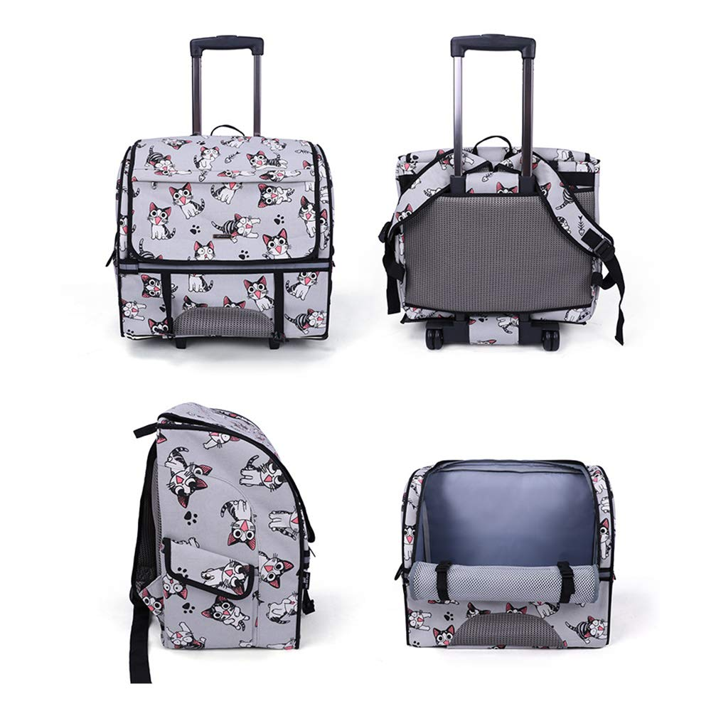 Brtjt Pet Carrier Pet Carrier Dog Pet Carrier Cat High-End Pet Trolley Case, Pet Backpack, Multi-Functional Outing Backpack, Pet Backpack, Trolley Case, Cat and Dog Universal,Cat