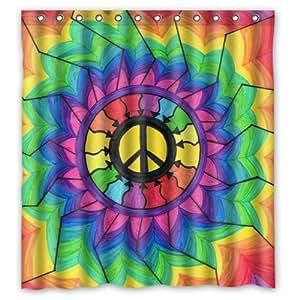 Cortina De Ducha Hippie Best Cool Tie Dye Paz Mandala De