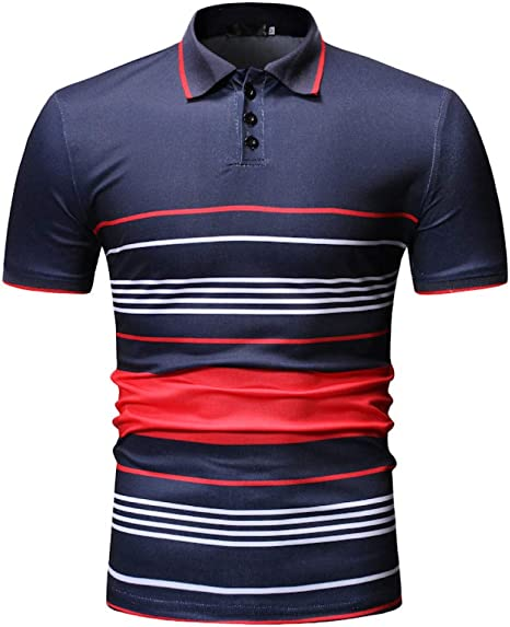 XJWDTX Camisa Polo De Moda Casual A Rayas para Hombre De La Moda ...
