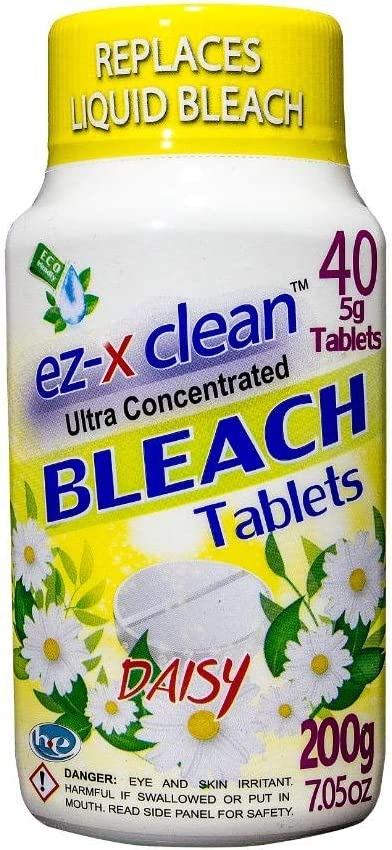 EZ-X CLEAN Ultra Concentrated Water Activated Bleach Tablets for Laundry and Multipurpose Cleaning. 40 Tablets 7.05 OZ Phosphate Free Replaces Liquid BLEACHES (Daisy)