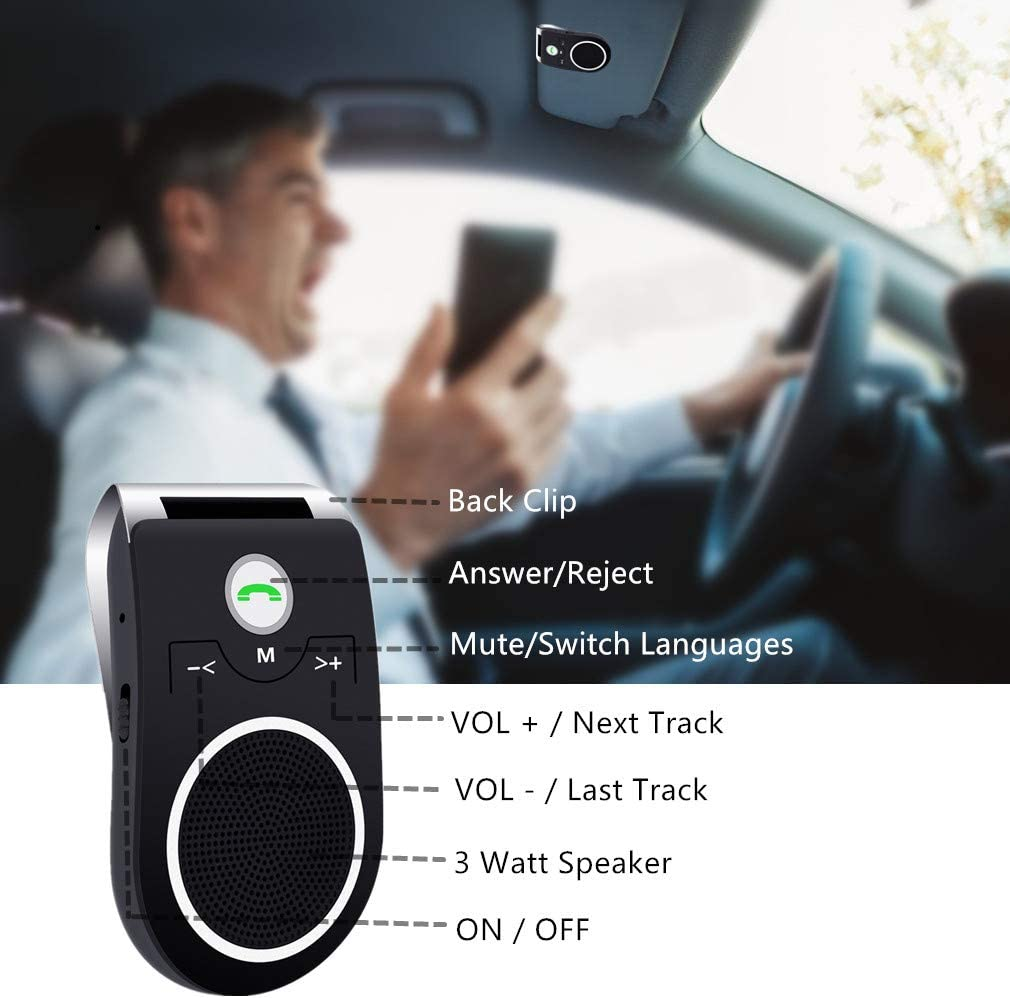 Upgraded Car Hands Free Bluetooth Car Speaker Super Clear and Loud Sound for Handsfree Calling Black Aigital Bluetooth 5.0 In-Car Speakerphone Wireless Kit for Cell Phone GPS Navigation and Music