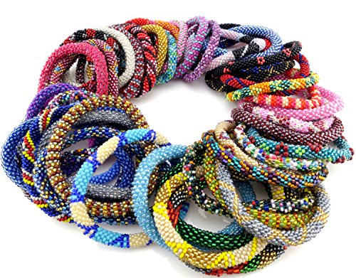 Nepal Roll On Bracelets Wholesale Assorted SET OF 10- Glass Seed Bead Bracelet Jewelry Handmade in Nepal (Crocheted Beaded Bracelets By Lily And Laura)