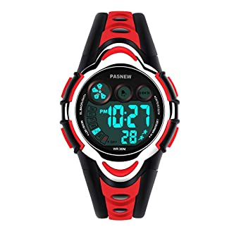 Boys Watches, PASNEW Cool Design Lightweight Waterproof Digital Sports Kids Watch Age 5-12