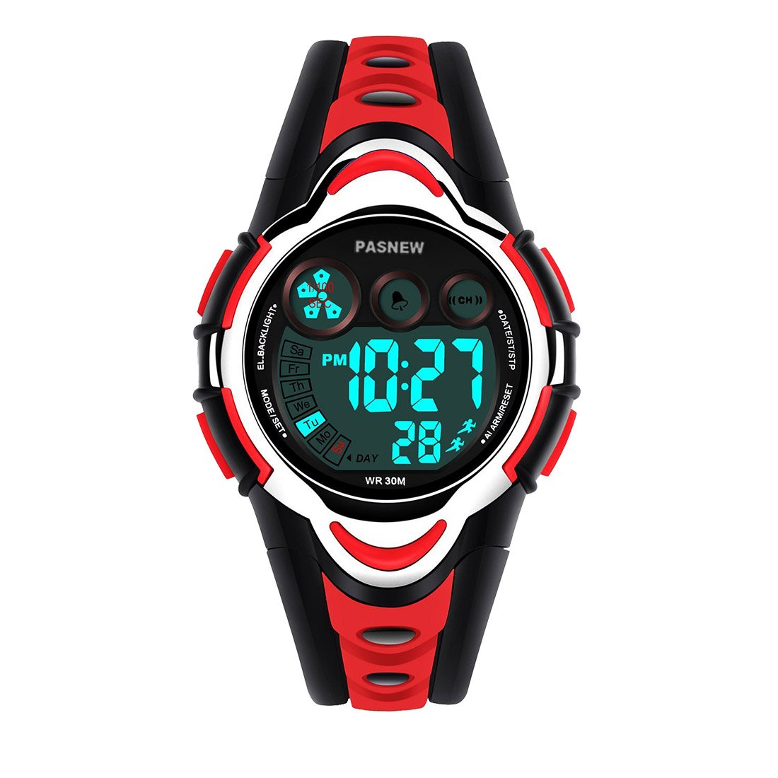 Boys Watches, PASNEW Cool Design Lightweight Waterproof Digital Sports Kids Watch Age 5-12 Red