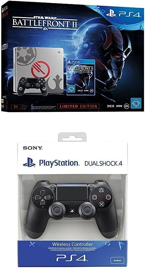 PlayStation 4 (PS4) - Consola 1 TB + Star Wars Battlefront - Edición Especial + Dualshock 4 V2 Mando Inalámbrico, Color Negro V2 (PS4): Amazon.es: Videojuegos