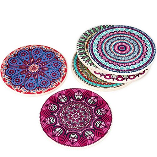 6 Beautiful Ceramic - Coasterland Absorbent Stone Coasters For Drinks, SET of 6, LARGE, Different Mandala Designs, Colorful, Thick, Save Your Furniture, Ceramic, Round, Durable, Beautiful, Perfect Gift, 4.3