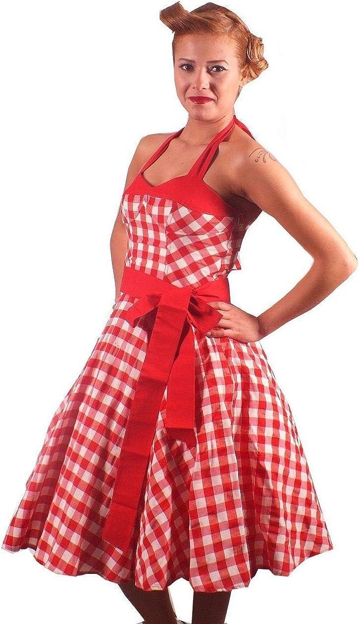 Stile retr/ò//Rockabilly Anni 50 Rockabilly JO,Grande Taglia Vestito a Fiori da Cocktail Party con Fascia in Vita /'60