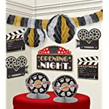"""Amscan Hollywood Movie Themed Party Decorating Kit (10 Piece), Black/Gold/Silver, 15.5 x 10.8"""""""