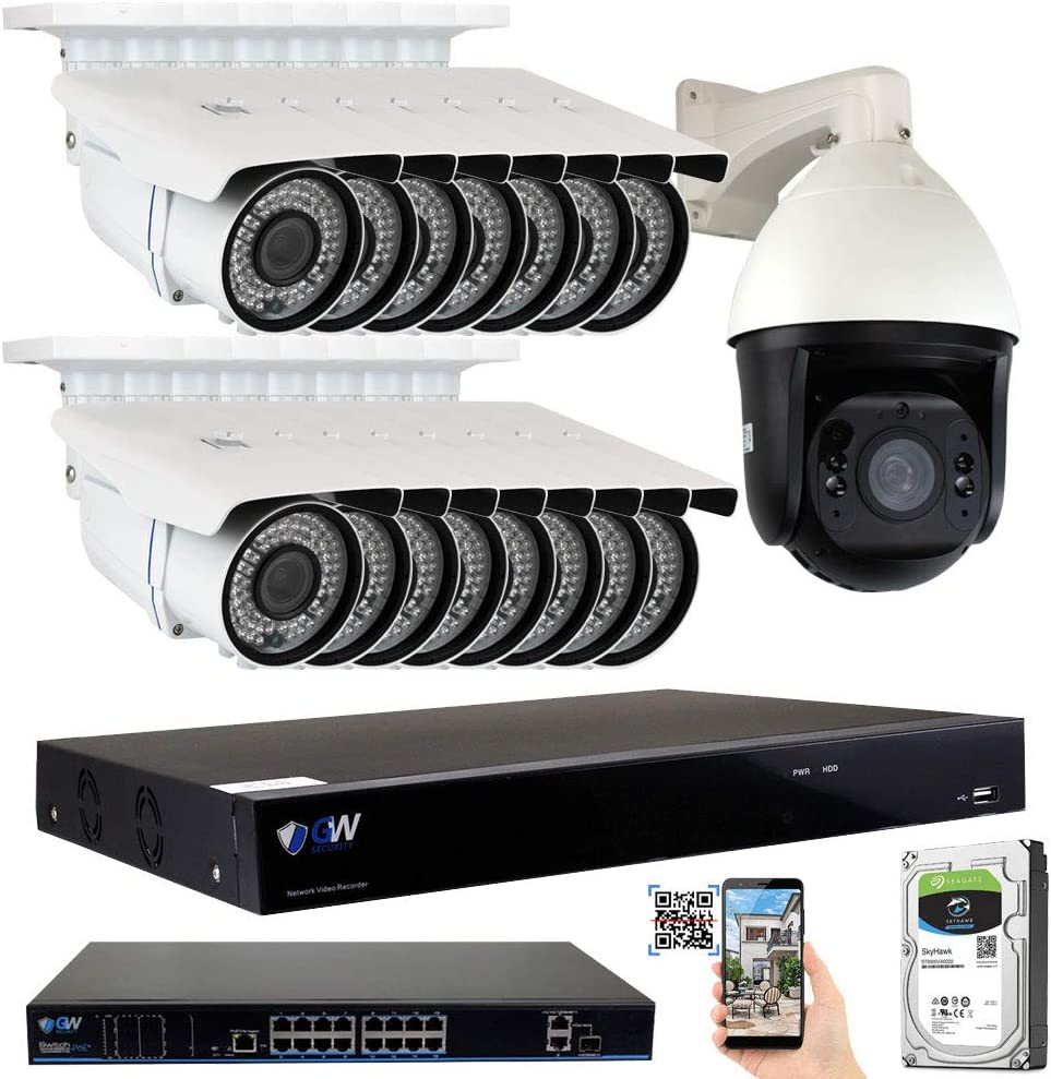 GW Security 16 Channel 4K NVR H.265 Surveillance System with 15 HD 5MP 1920p 2.8-12mm Varifocal Weatherproof PoE IP Bullet Security Cameras, and 1 10X Zoom 5MP 1920p IP PTZ Camera