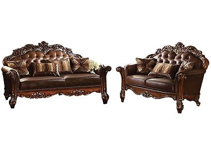 Amazon com: ACME Vendome Living Room Set with Sofa and Loveseat