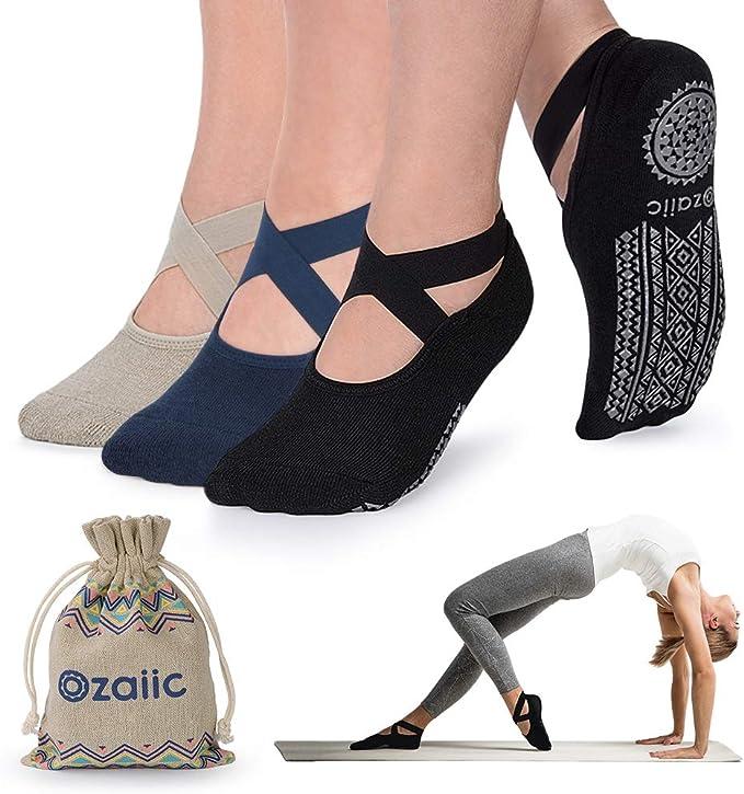 4 Pairs Yoga Fitness Gym Excercise Five Toe Socks Rubber Pilates Non Slip Socks