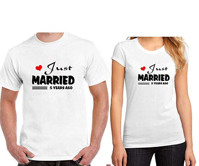 DY Just Married Printed Couple White T Shirt For Your BoyfriendGirlfriend Husband