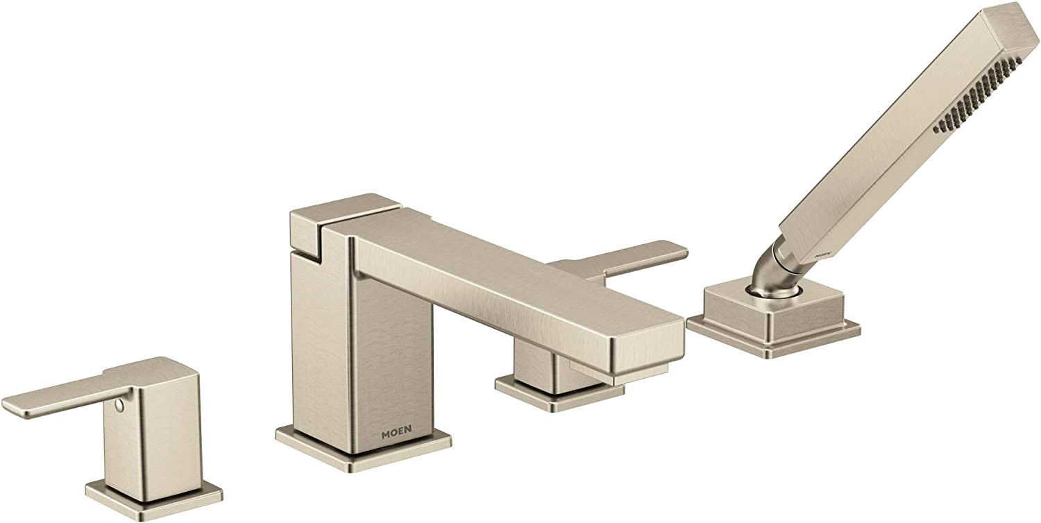 Moen TS914BN 90 Degree Two-Handle Deck Mount Roman Tub Faucet Trim Kit, Valve Required, Including Single Function Handshower,Brushed Nickel