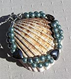 "Hematite Heart & Green Shell Pearl Gemstone Bracelet ""Laurel"" offers"