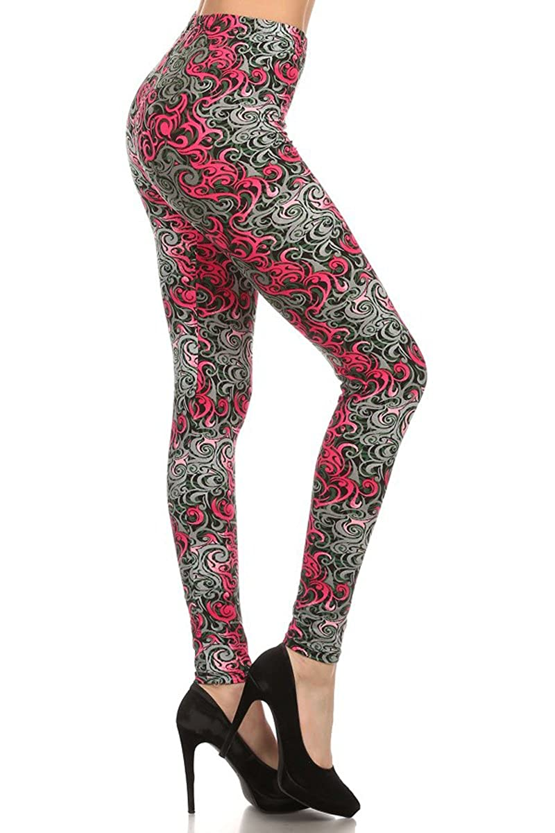 Leggings Depot Women's Ultra Soft Printed Fashion Leggings BAT14