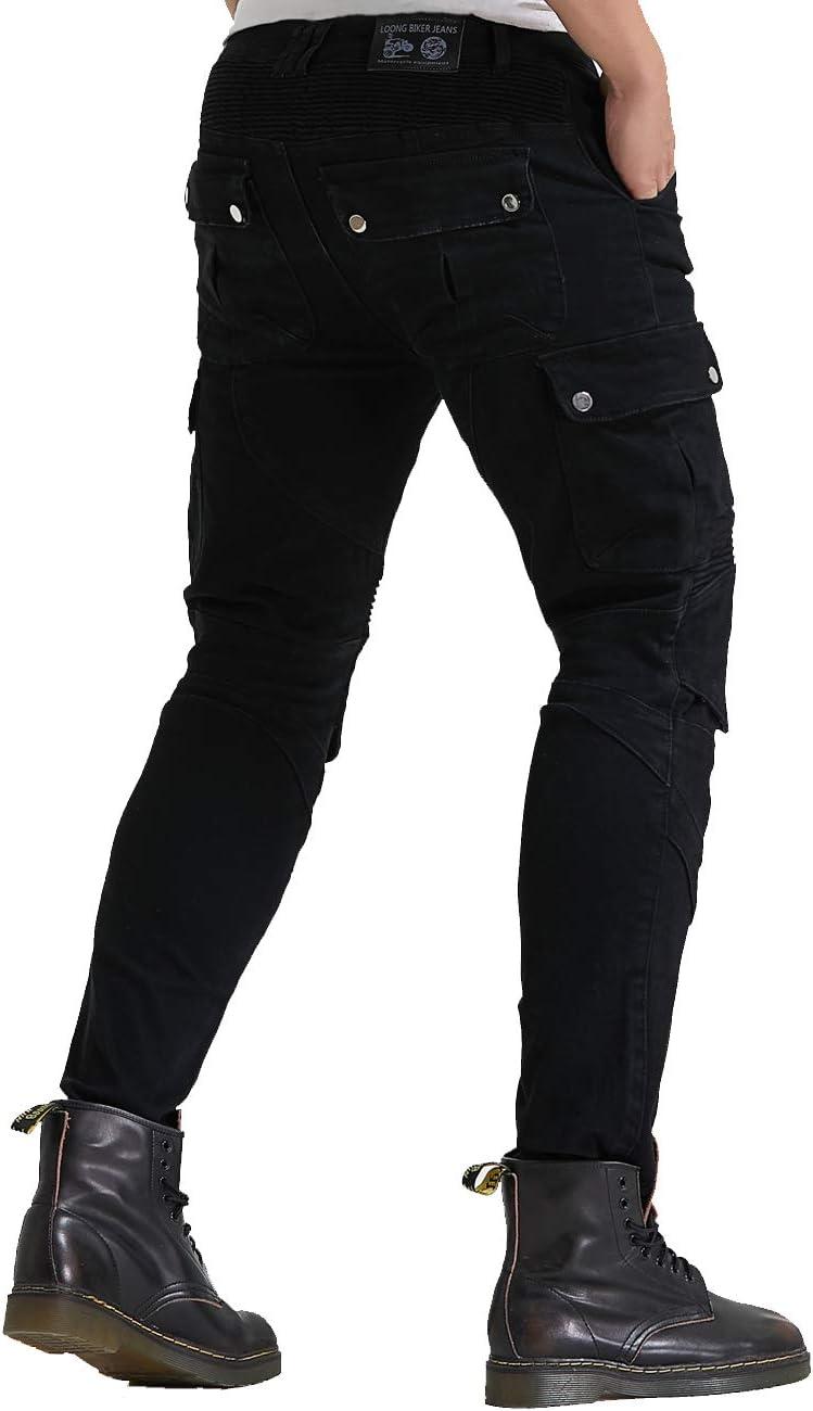 Renforc/é avec Protection Aramide Doublure d/équitation Motocross Denim Jeans Kelvar WCCI Hommes Moto Pantalon 85cm waist Noir, M=33