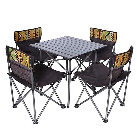LFA Mesas y sillas Plegables Mesa de Playa Plegable al Aire ...