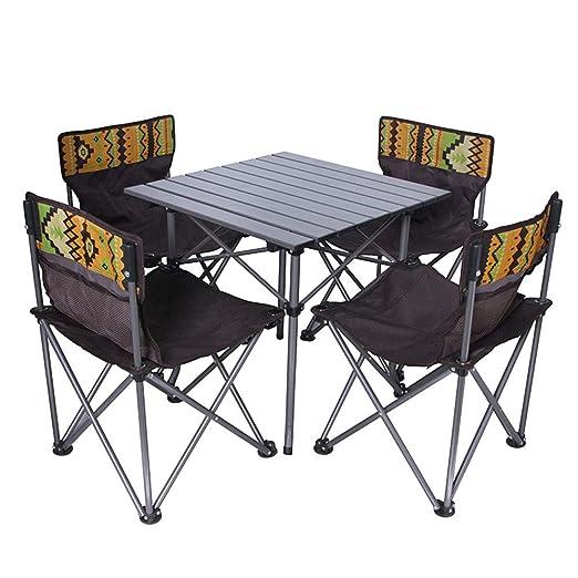 LFA Mesas y sillas Plegables Mesa de Playa Plegable al Aire Libre ...