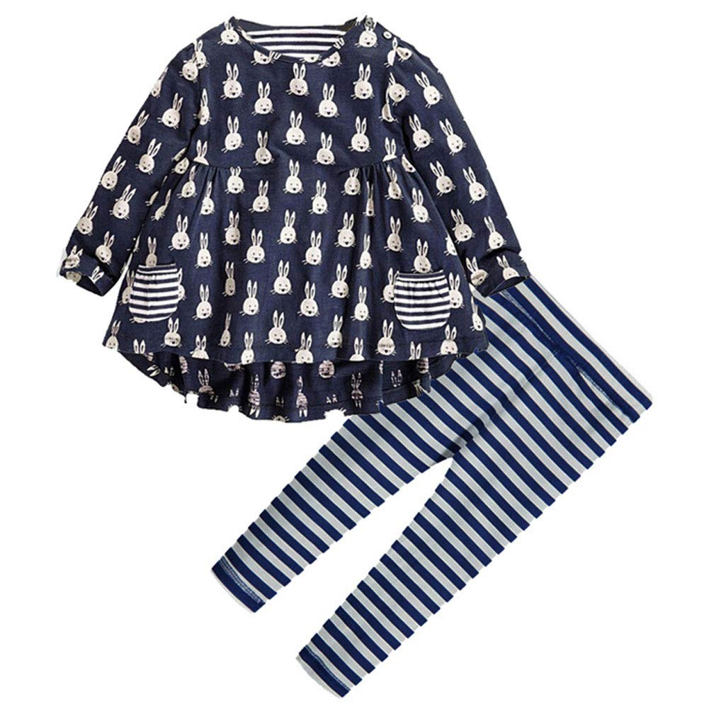 ALLureLove Little Girls Clothing Sets Cute Bunny Printed Long Sleeve Outfits 2 PCS Top Leggings(Navy Blue, 140cm)