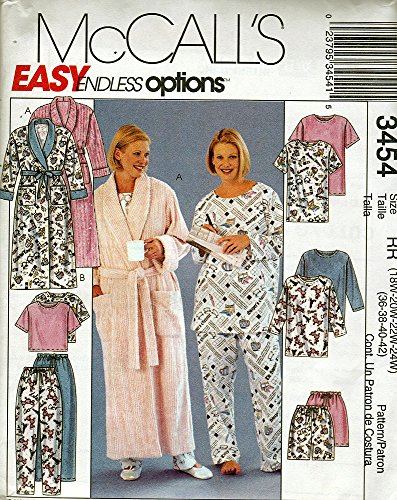 McCall's Easy Endless Options Sewing Pattern 3454 Robe and Pajamas Size RR (18W-24W) Vintage Pattern (Pants Sewing Pajama)